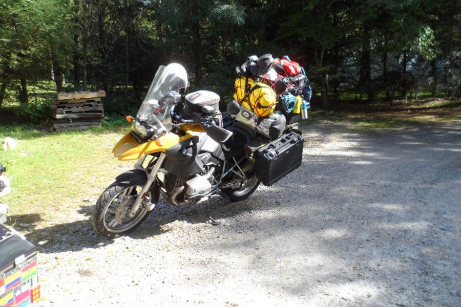 over packed adventure bike