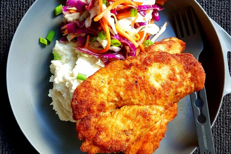 Crispy Chicken with Mash & Orange Slaw