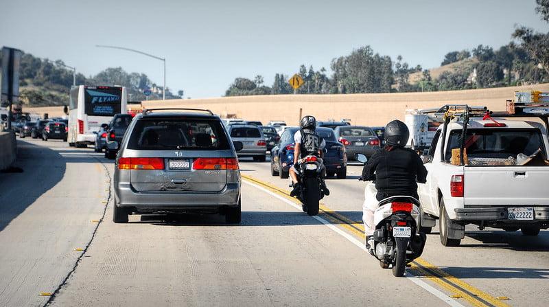 Lane Splitting Motorcycles in California.