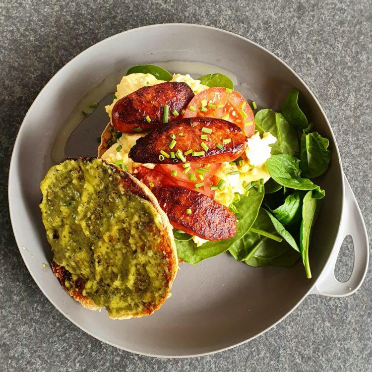 Chorizo & Egg Breakfast Burger Photo @Kylie Day