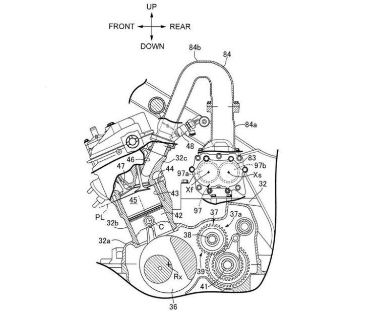 Honda supercharger patent drawing. Credit: Cycle World