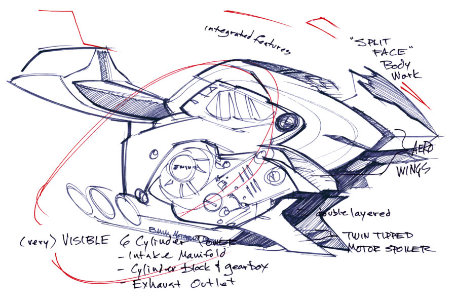 BMW Motorrad's Concept6 original drawings show a sports/power bike.
