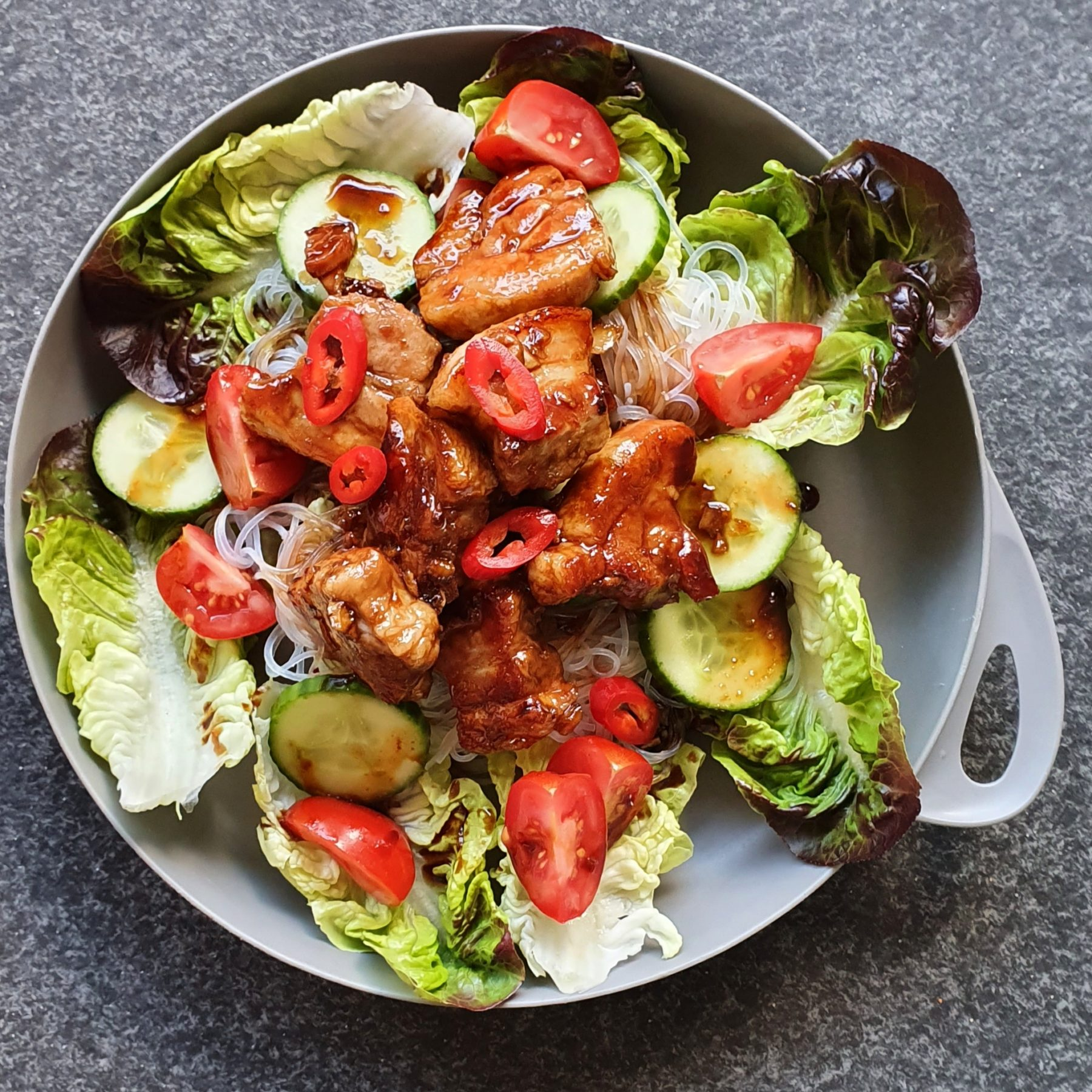 Honey Garlic Pork Noodle Salad Photo Kylie Day