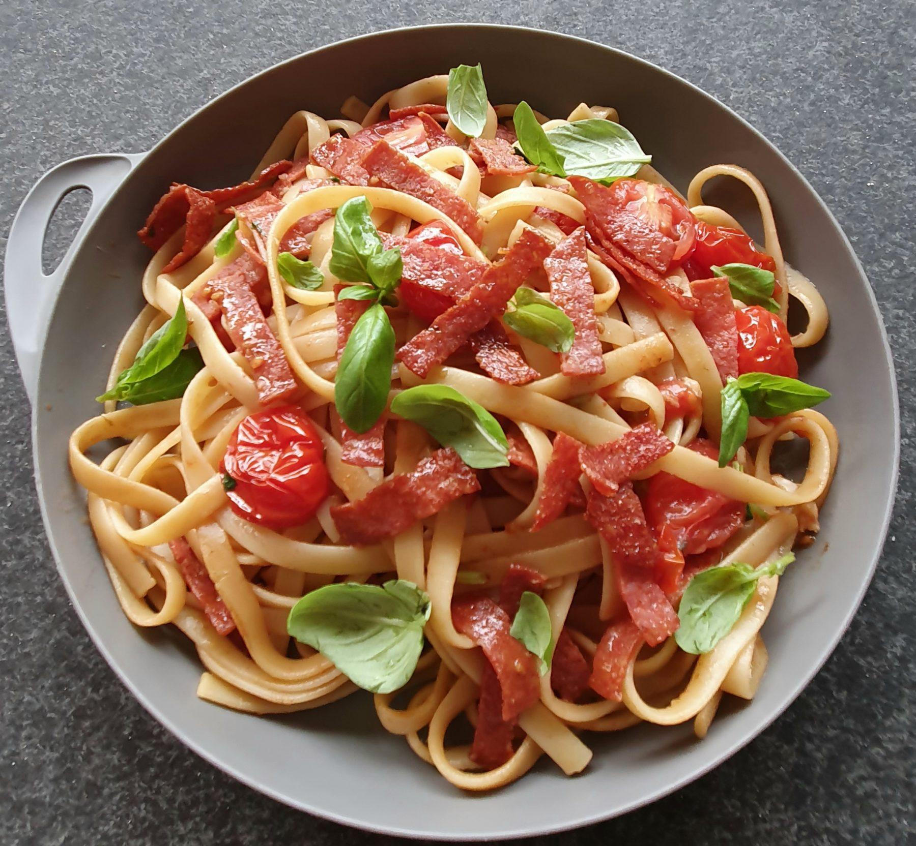 Crispy Salami Pasta  Photo Kylie Day