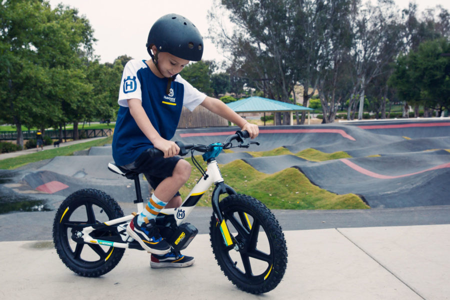 The new Husqvarna 16eDrive balance bike, built by StaCyc. Photo: Husqvarna