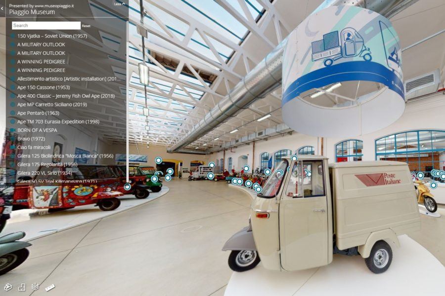 The Piaggio Group museum even has a display of weirdo Ape three-wheelers. Photo: Piaggio