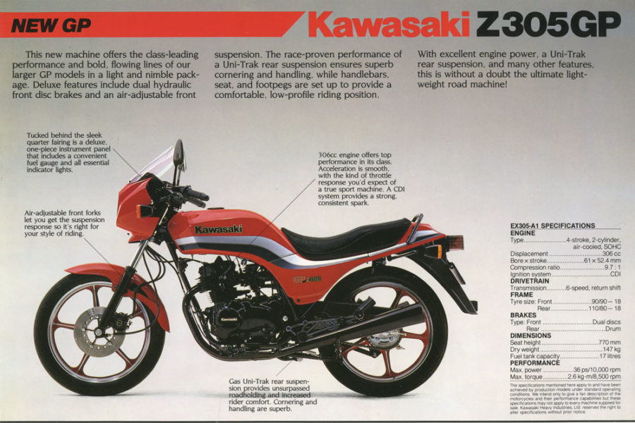 An original Kawasaki sales brochure shows the machine had classic mid-1980s superbike lines, scaled down.